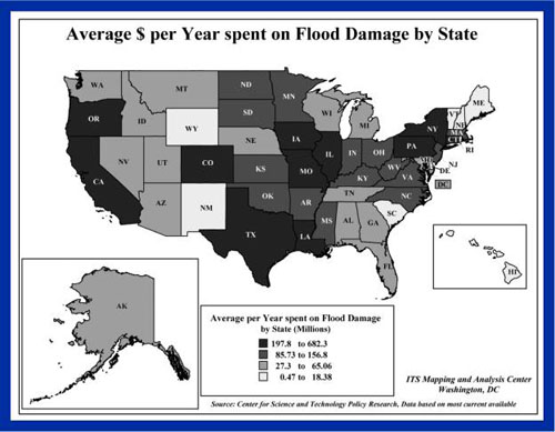 Image of flood damage by state measured in dollars per year