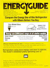 photo of energy guide label